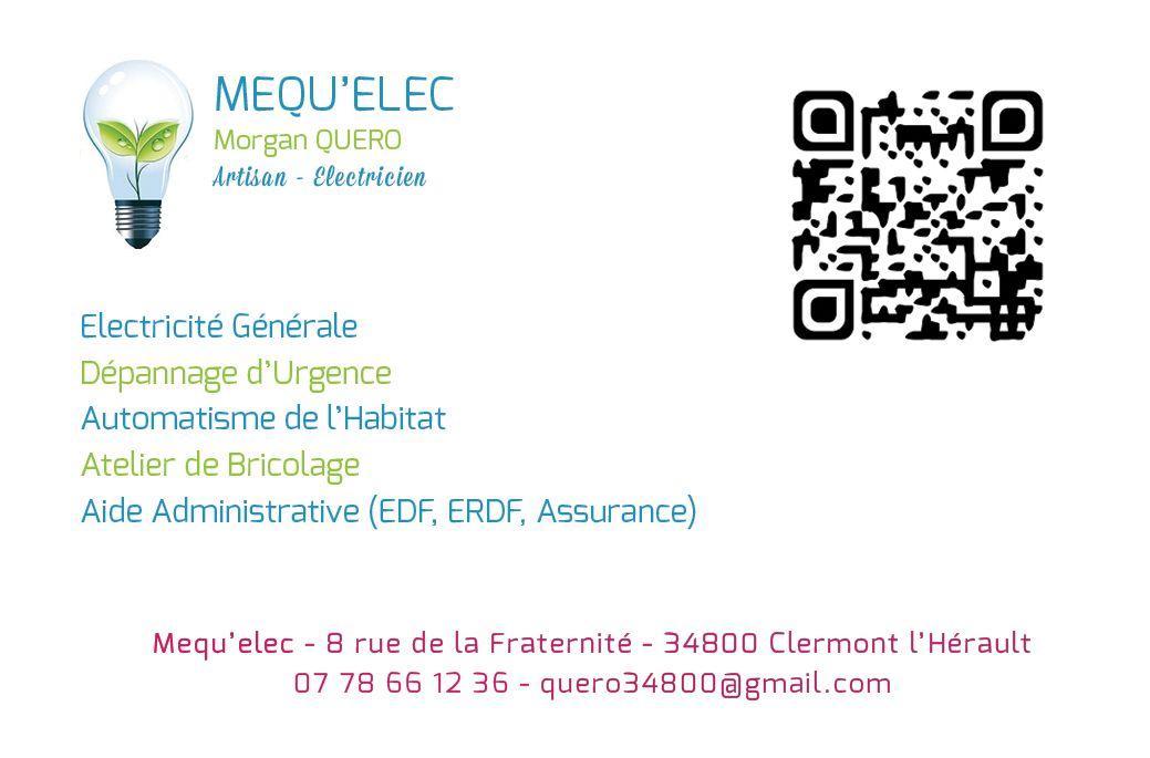 Carte De Visite Verso Pour Mequelec Lectricit Sur Clermont LHrault Et Alentours