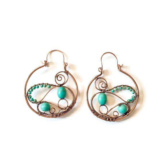 Trendy Turquoise gemstone hoop earrings, Boho hoop Earrings, Large ...
