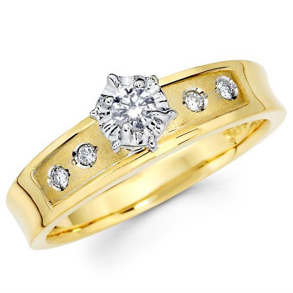 Two Tone 14K Gold Round Diamond Engagement Ring