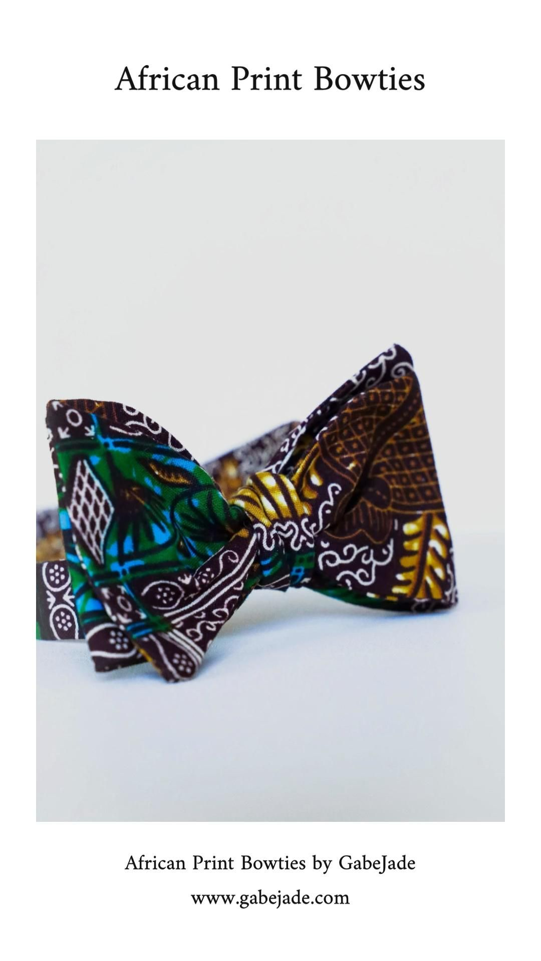 Handmade Authentic African Fabric Fashion Contrast Bow Tie