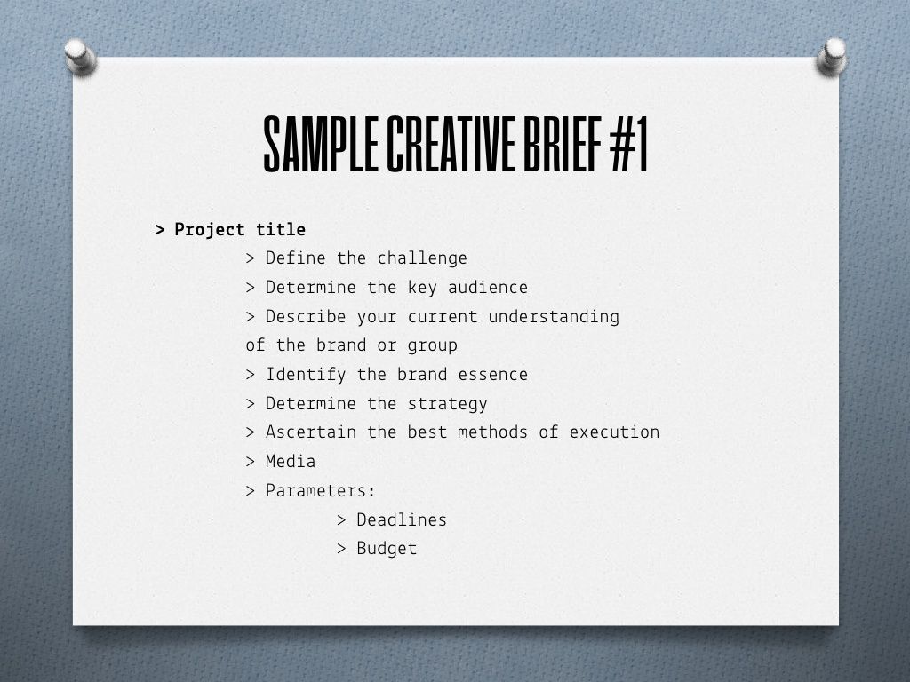 Sample creative briefs for outlining and designing program