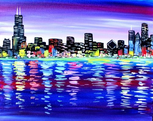 My Chicago At Punch Bowl Social Schaumburg Paint Nite Events Near Schaumburg Il Cityscape Art Canvas Wall Art City Art