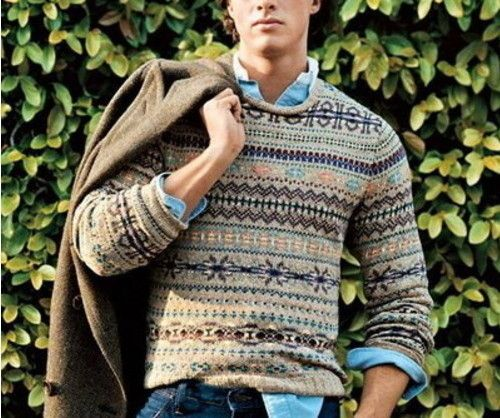 Men's Brown Blazer, Beige Fair Isle Crew-neck Sweater, Blue Long ...
