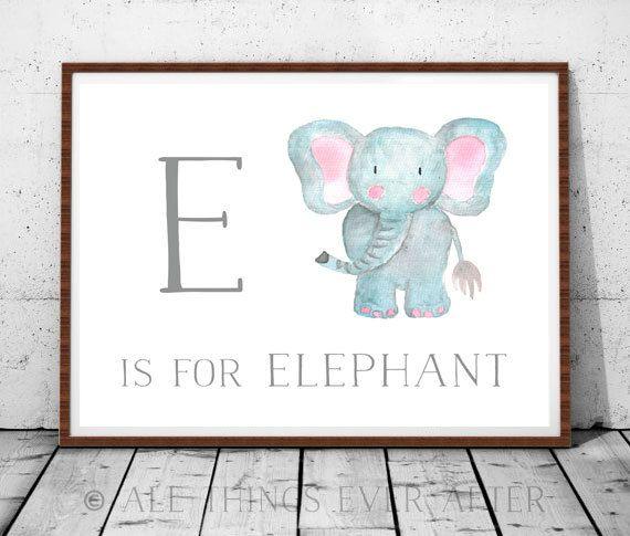 Letter E Nursery Print Kids Room Playroom Decor Art Elephant