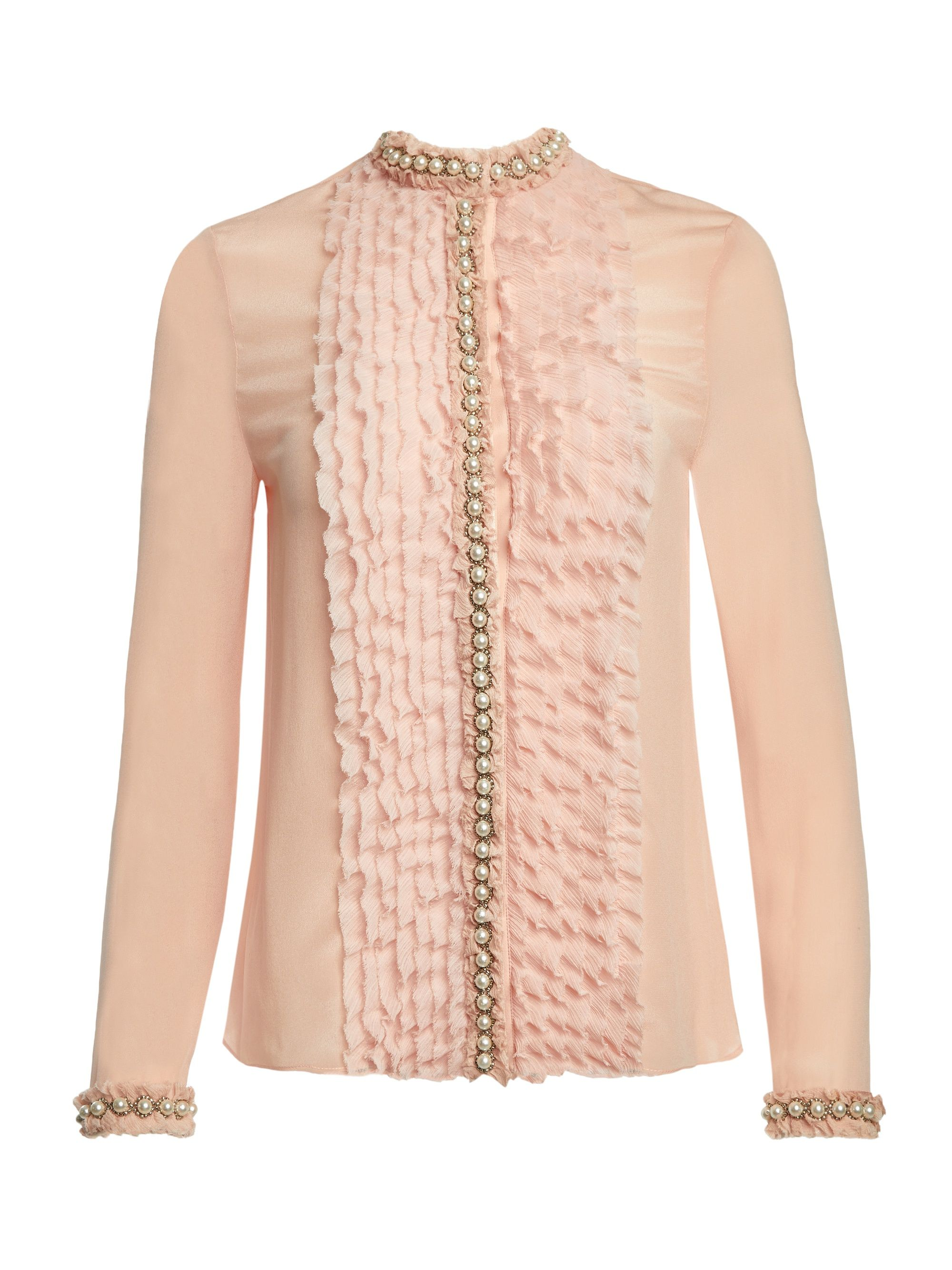 d09230a23b57a Beautiful blush blouse with pearls. ARMINDA RUFFLE BUTTON DOWN by Alice +  Olivia  aliceandolivia