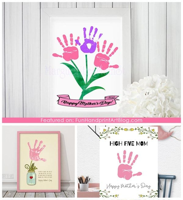 Last Minute Print and Make Mother's Day Gifts kids can make that are easy and make pretty decor or cards for moms. #mothersdaycrafts #HandprintHolidays #KeepsakeCrafts