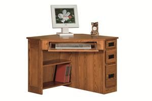 Amish Mission Style Corner Computer Desk With Side Drawers