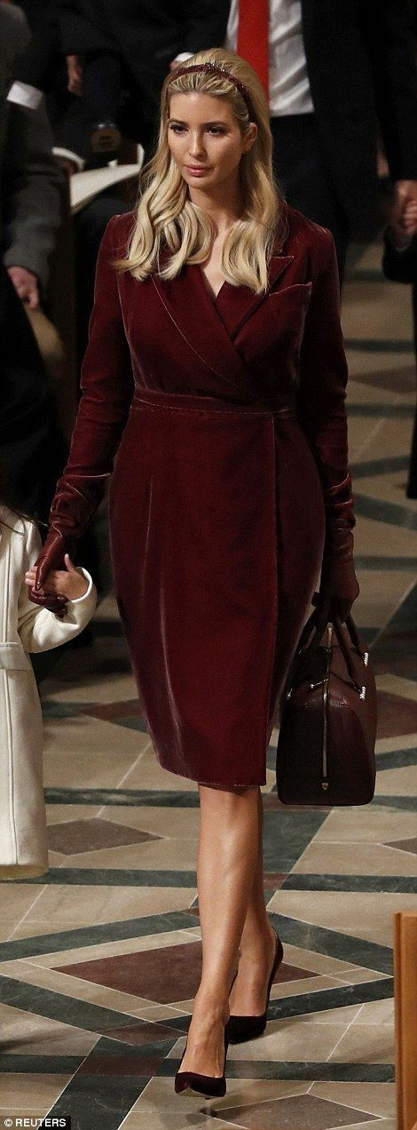 Ivanka Trump wore a striking Oscar de la Renta velvet wrap dress...
