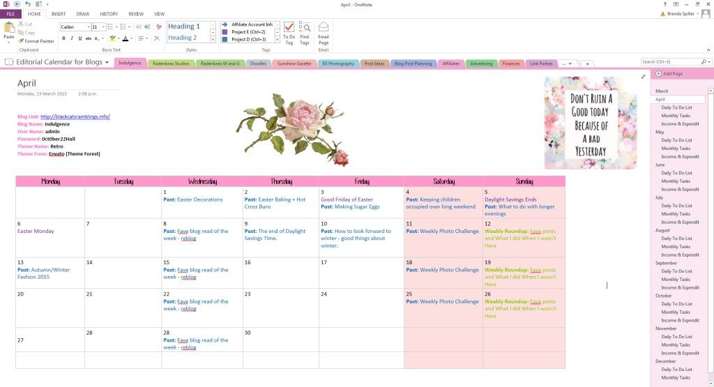 How to use onenote to create a gorgeous planner planning for Evernote daily planner template