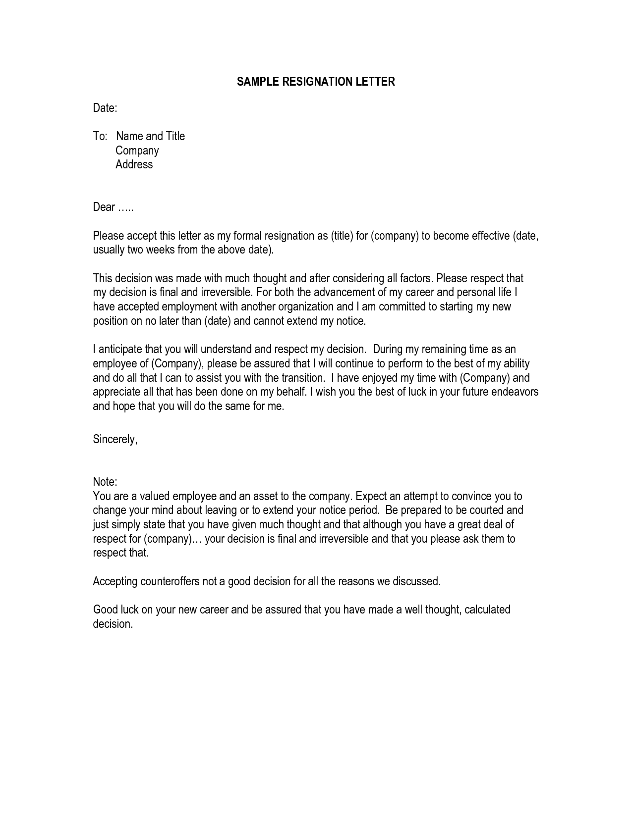 Type Resume Business Letter Sample Kern How Resignation Layout
