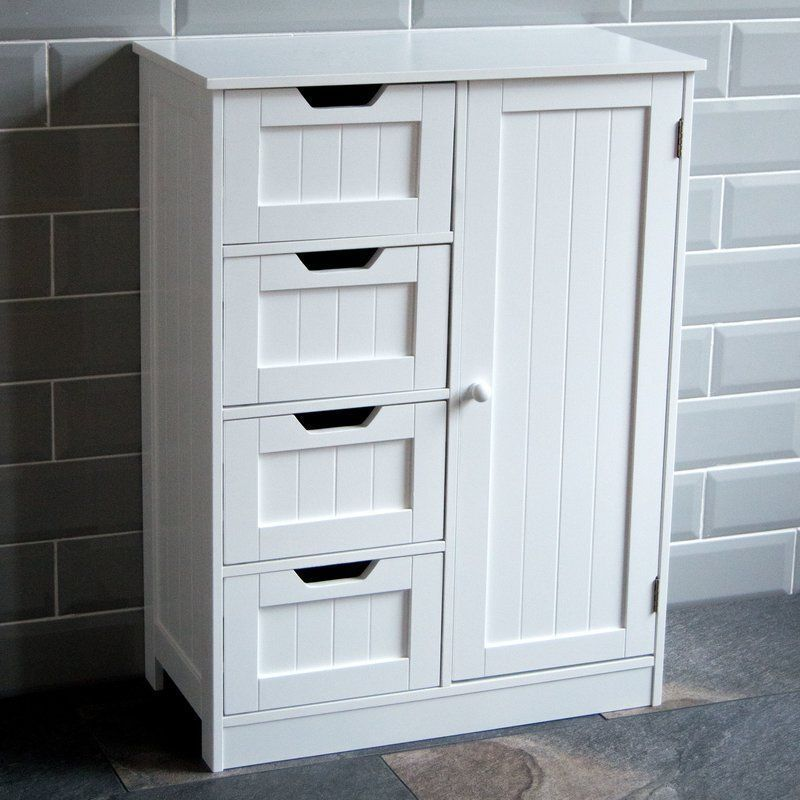 Free Standing Cabinet Wooden White Pine Shelf Drawers