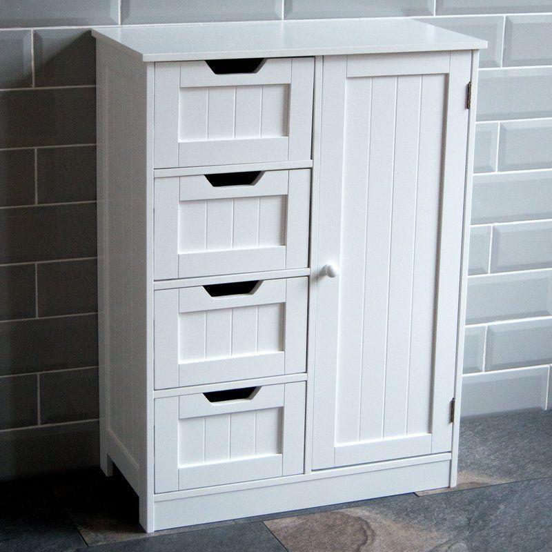Free Standing Cabinet Wooden White Pine Shelf Drawers Storage