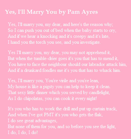 Yes I Ll Marry You Pam Ayres Our Wedding Poem