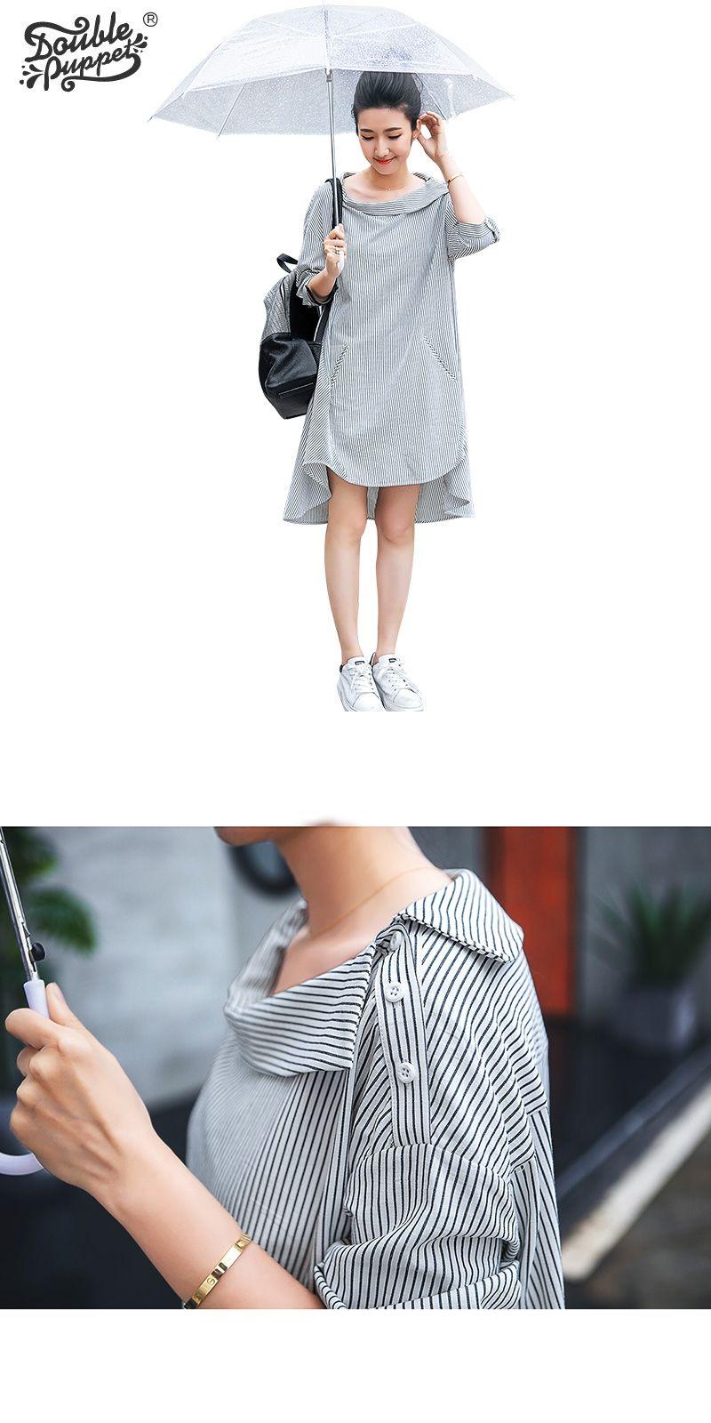 c2aa01d45531a Double puppet dress woman casual loose irregular stripes fake button slash  neck loose 2017 summer fashion