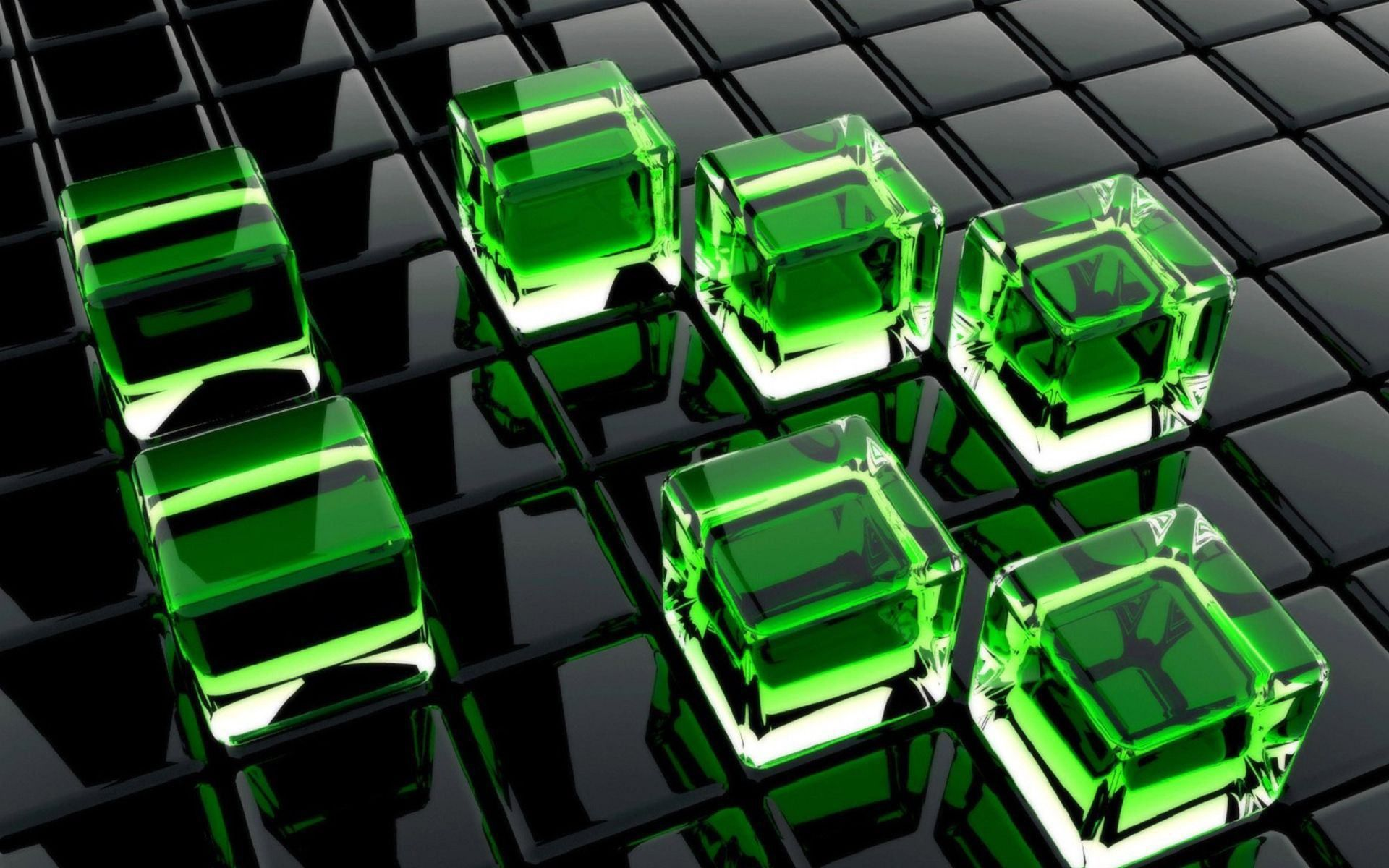 3dgreencubes On Black Screen Hdwallpapers For Free Download Latest