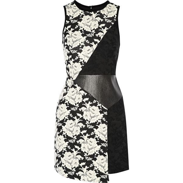 Tibi Floral-jacquard, ponte and faux textured-leather mini dress (2.015 NOK) ❤ liked on Polyvore featuring dresses, black, white, wrap dress, faux wrap dress, short floral dresses, white mini dress and mini dress
