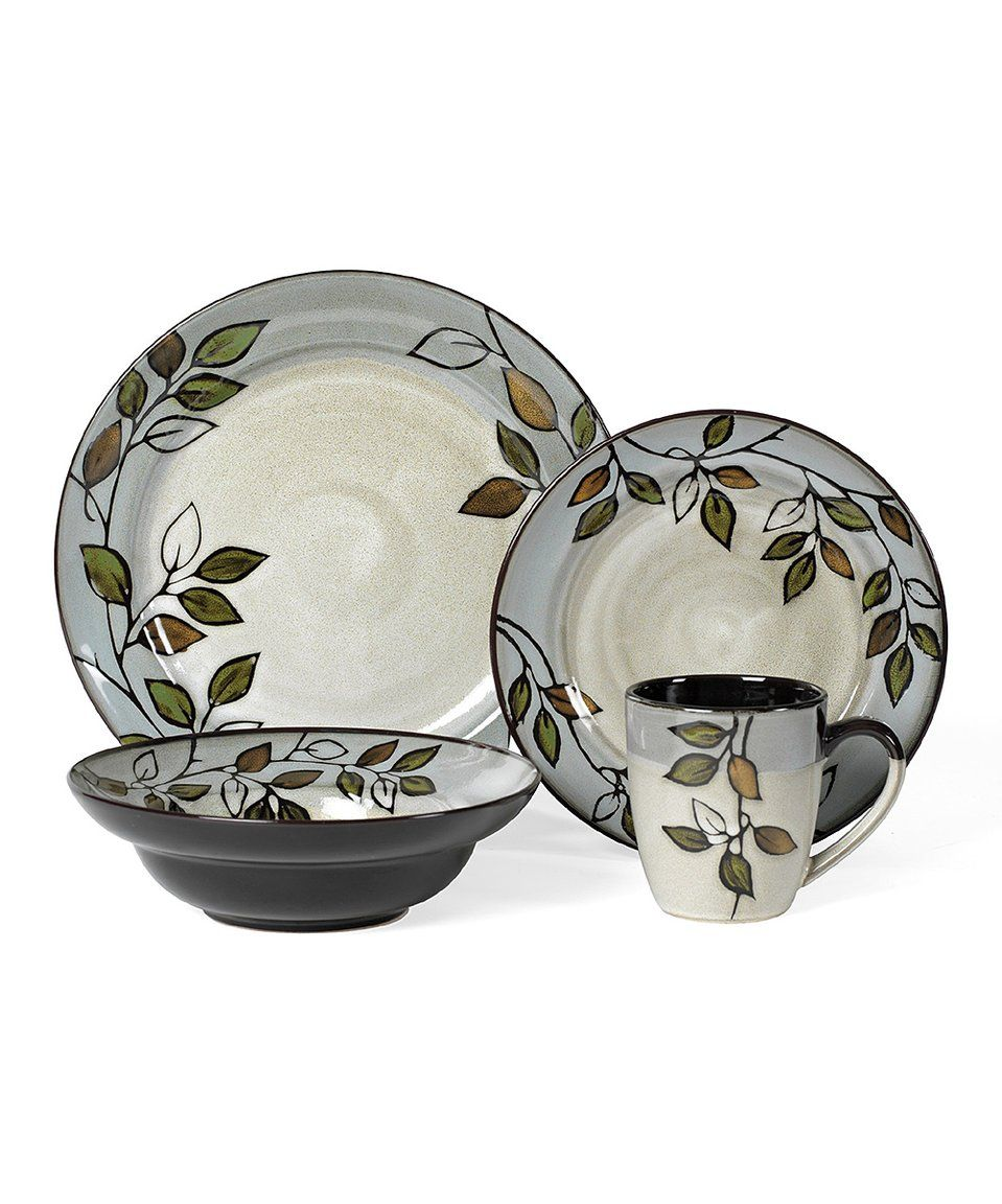 Take a look at this Rustic Leaves 16-Piece Dinnerware Set today ...