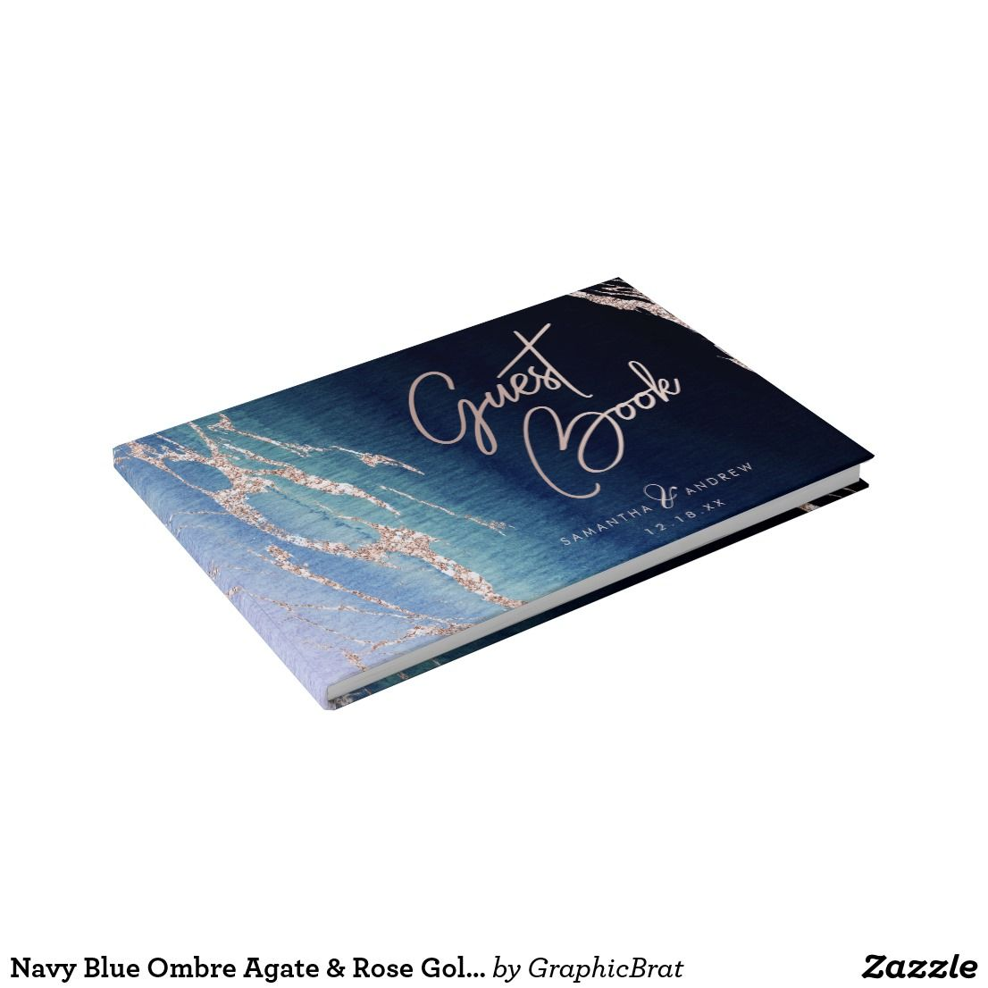 Navy Blue Ombre Agate & Rose Gold Wedding Monogram Guest Book ...