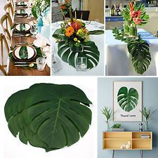 12pcs Tropical Palm Leaves Artificial Hawaiian Beach Home Party Table Decoration