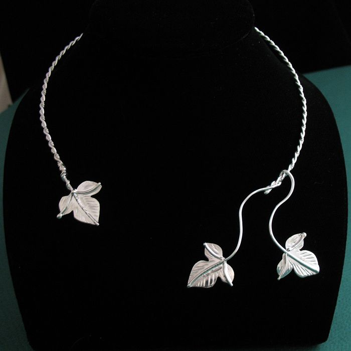 WANT Sterling Silver NatureInspired Ivy Leaf Neck Torcs at Camias