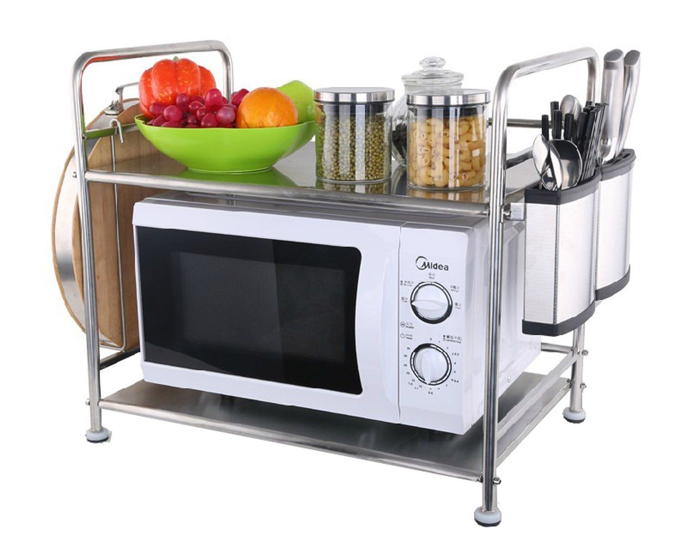 Amazon Com Esy Life Portable Functional Microwave Rack Microwave Shelf Stainless Kitchen Carts Kitchen R Microwave In Kitchen Colonial Kitchen Remodel Kitchen