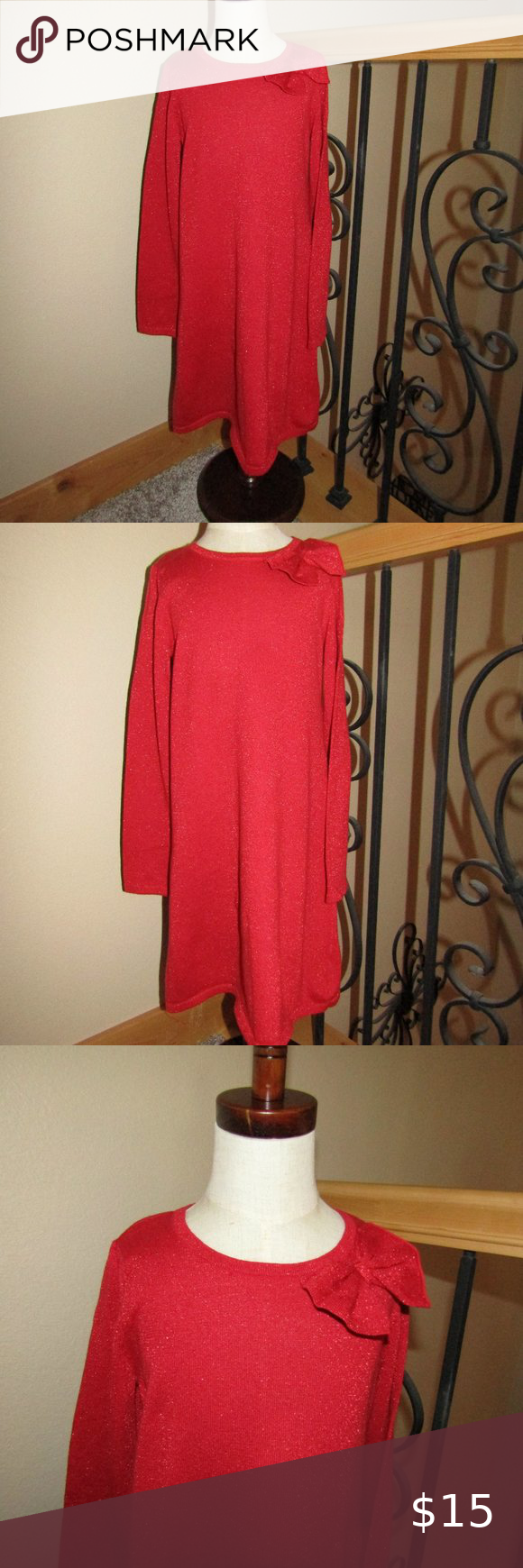 Girls Red Sweater Dress Size 6x Red Sweater Dress Sweater Dress Red Sweaters [ 1740 x 580 Pixel ]