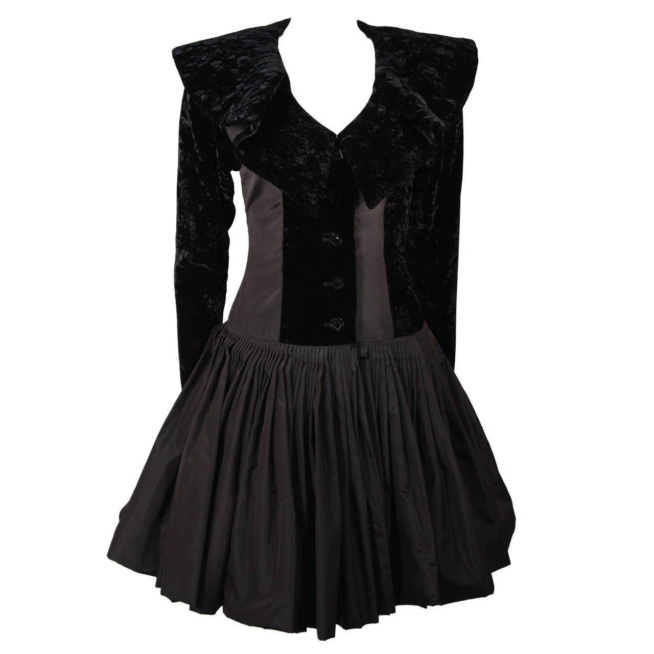 Galanos black velvet and silk flaired skirt cocktail dress size