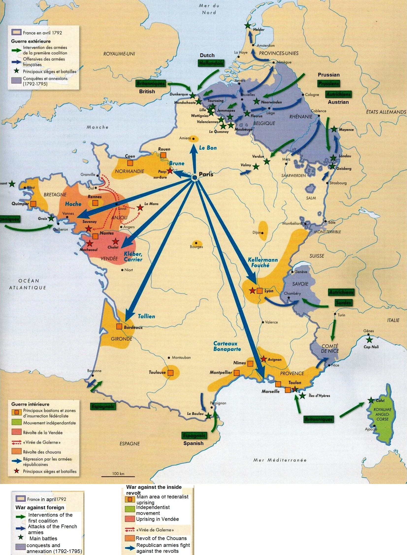 Map Of The Domestic And External Armed Conflicts In France - 1789 map of us