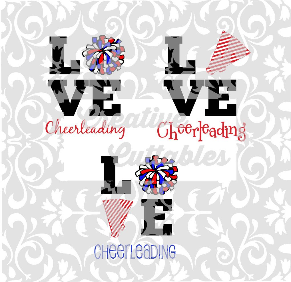 LOVE Cheerleading Pom Poms Megaphone for use with Silhouette or