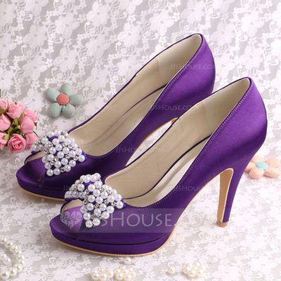2600fa997ca  US  60.99  Women s Silk Like Satin Stiletto Heel Platform Pumps With Crystal  Pearl (047118983)