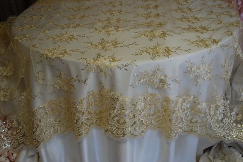 Champagne Sequins Lace Trim Overlay Linensandbeyond Net