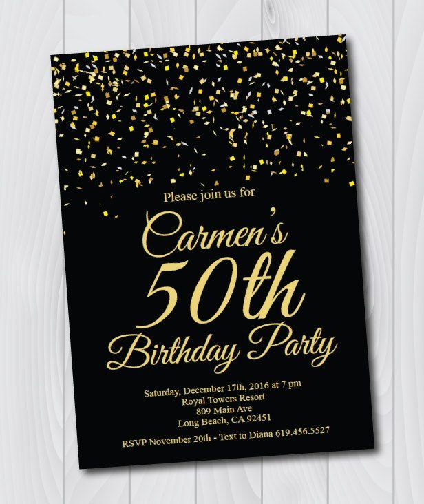 50th birthday invitationprintable gold black birthday invitatione card invitationtemplatebirthday invitationsurprise birthday party by