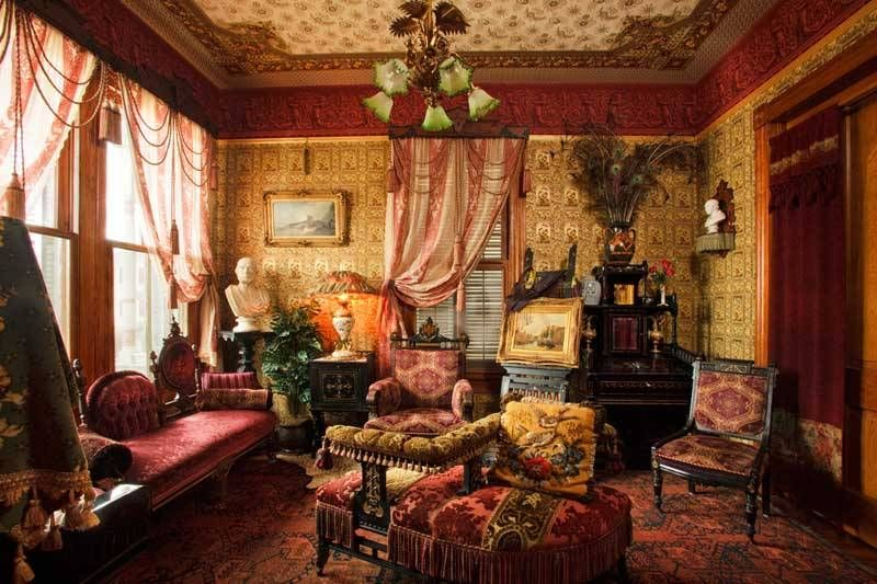 Home Design And Decor , Dashing Victorian House Decoration : Family Room  With Victorian House Decoration Such Furniture And Wallpaper And Statues  And ...