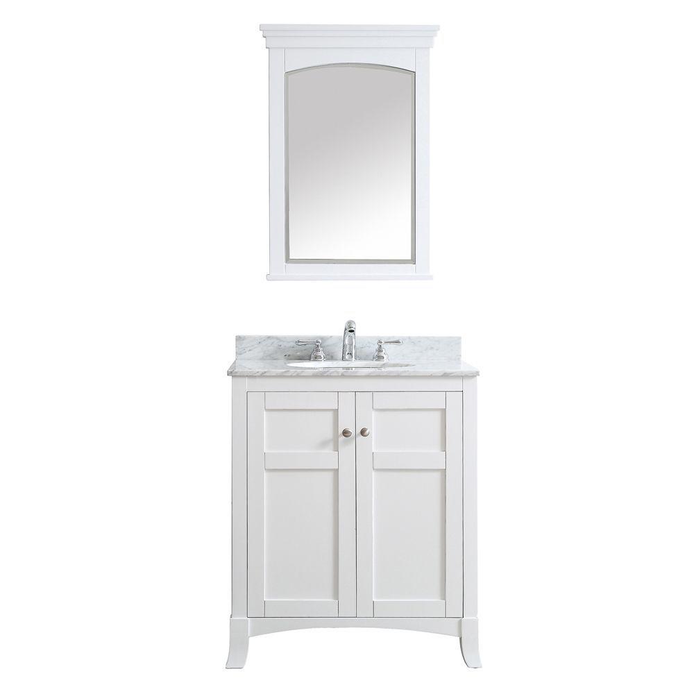 Vinnova Arezzo 30-inch Single Vanity with Carrara Marble Top and Mirror