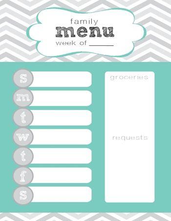 Menu Plan Printable with Little Corbin Hill creative Pinterest
