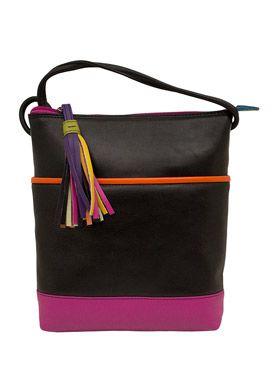 cc1d29faba ILI Black Brights Colorblock Leather Crossbody Bag With Tassel Puller