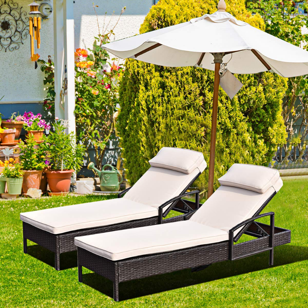 Amazon.com: Patiojoy Patio Reclining Chaise Lounge ...