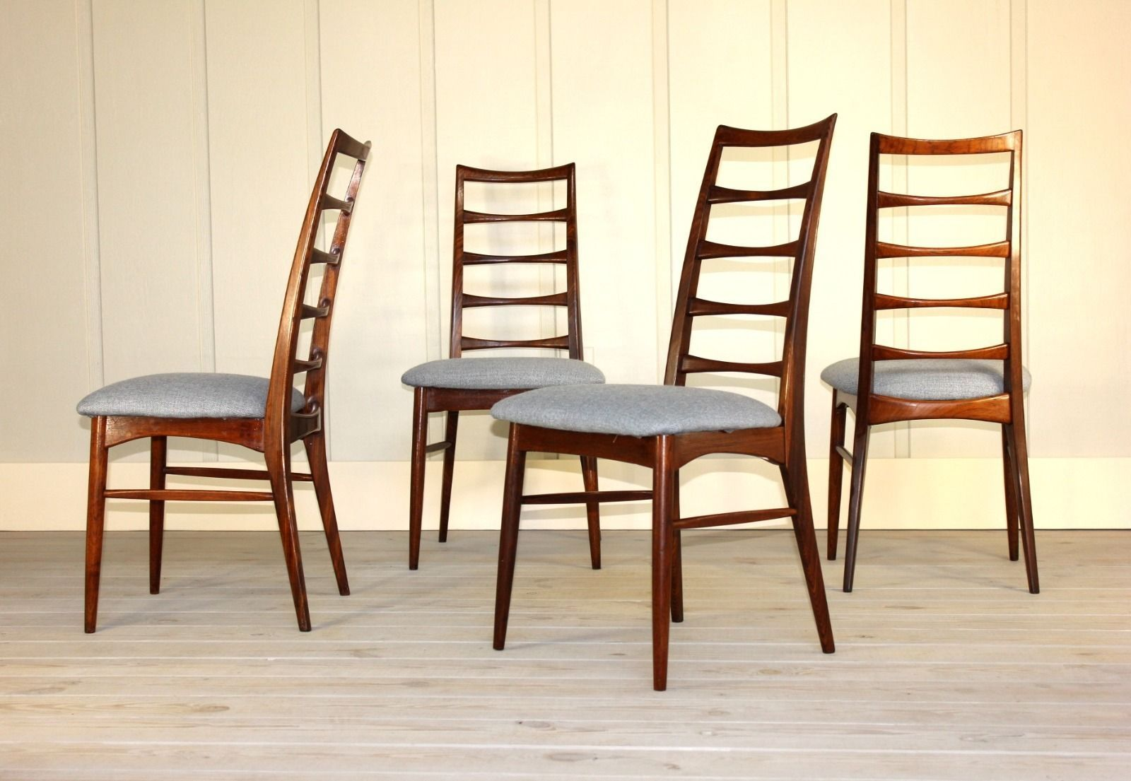 Danish Rosewood Ladder Back Dining Chairs By Koefoeds Hornslet Mid