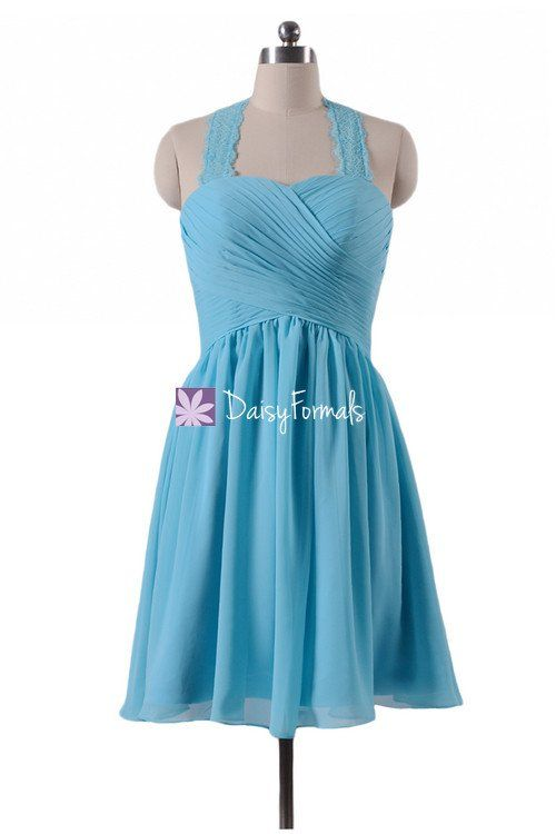 Gracious Sea Blue Party Dress Knee Length Bridesmaids Dress