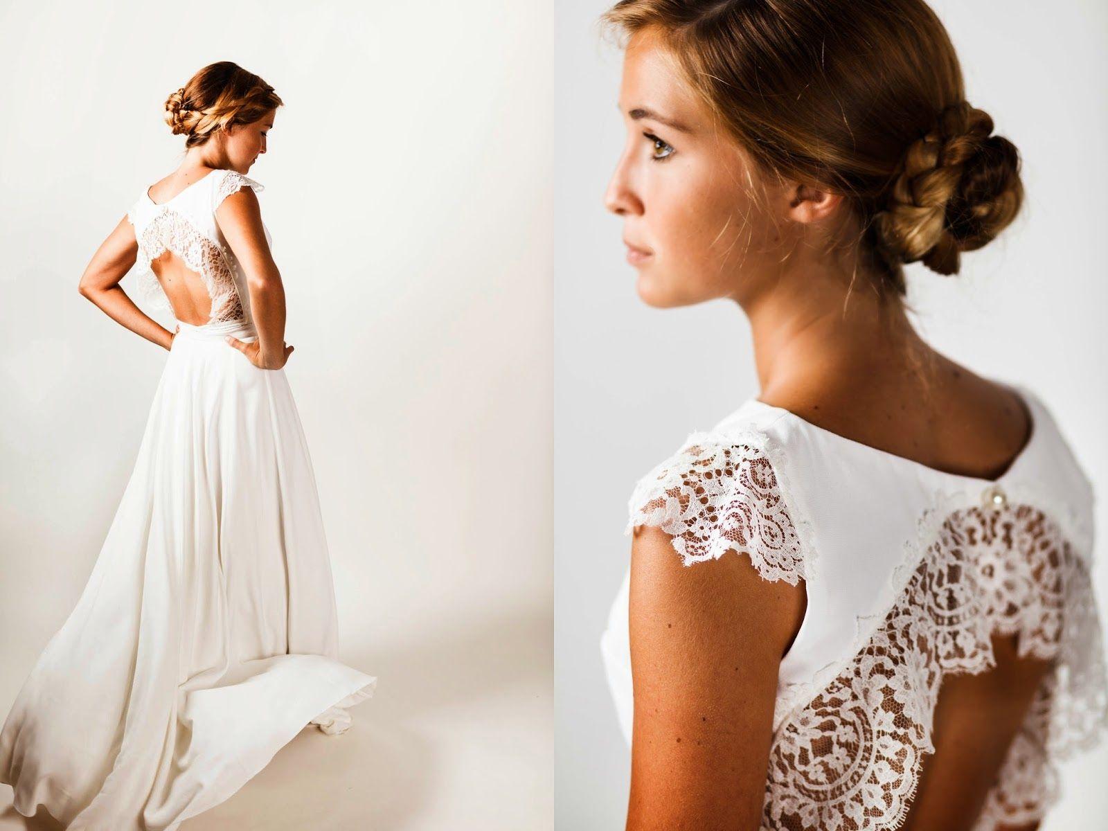 Marion Kenezi, robe de mariée à manche courte, Magdalena en dentelle ...