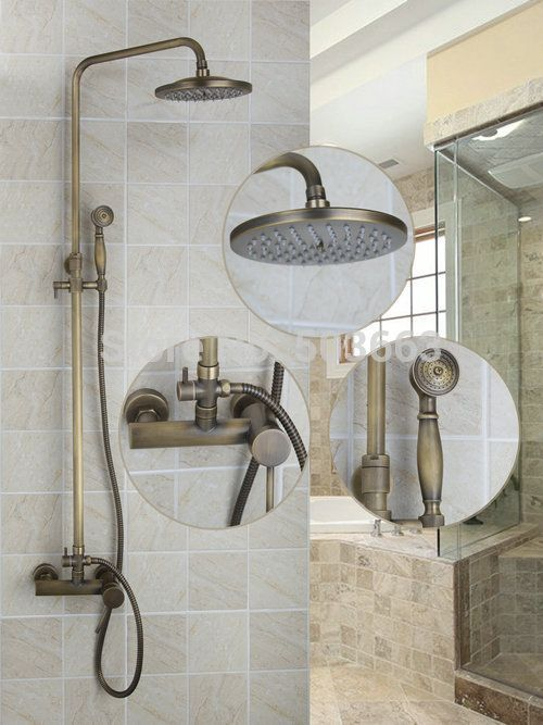 Square Antique Brass Bath Wall Mounted Tub Shower Head Handheld Faucet Set  Torneira 50127