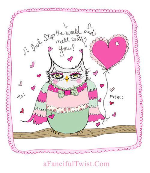 Owl Valentine's Free Printables | Valentines printables ...