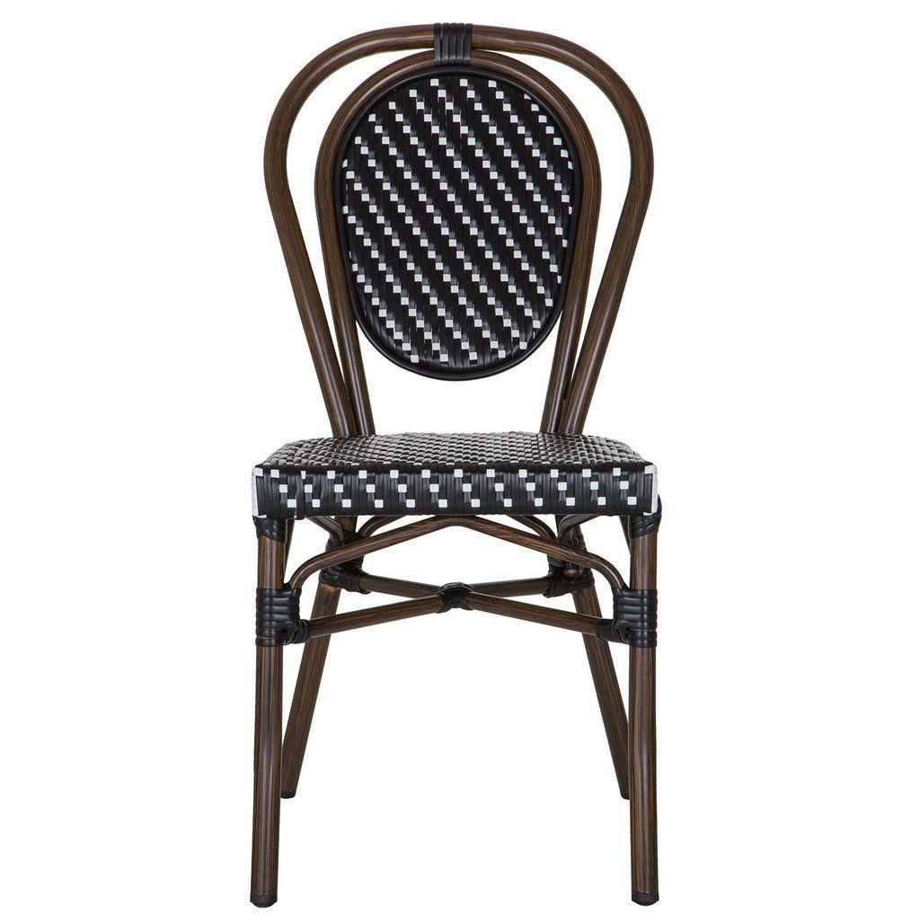 Black And White Metal Mediterranean Bistro Chair (H)