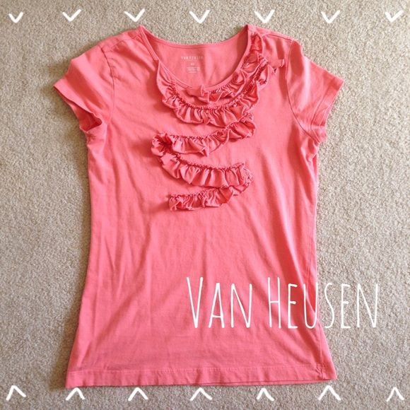 Ruffle Peach Tee Classical feminine, this ruffle tee by Van Heusen is an adorable addition to your outfits. In great condition. Also fits Small. Van Heusen Tops Tees - Short Sleeve