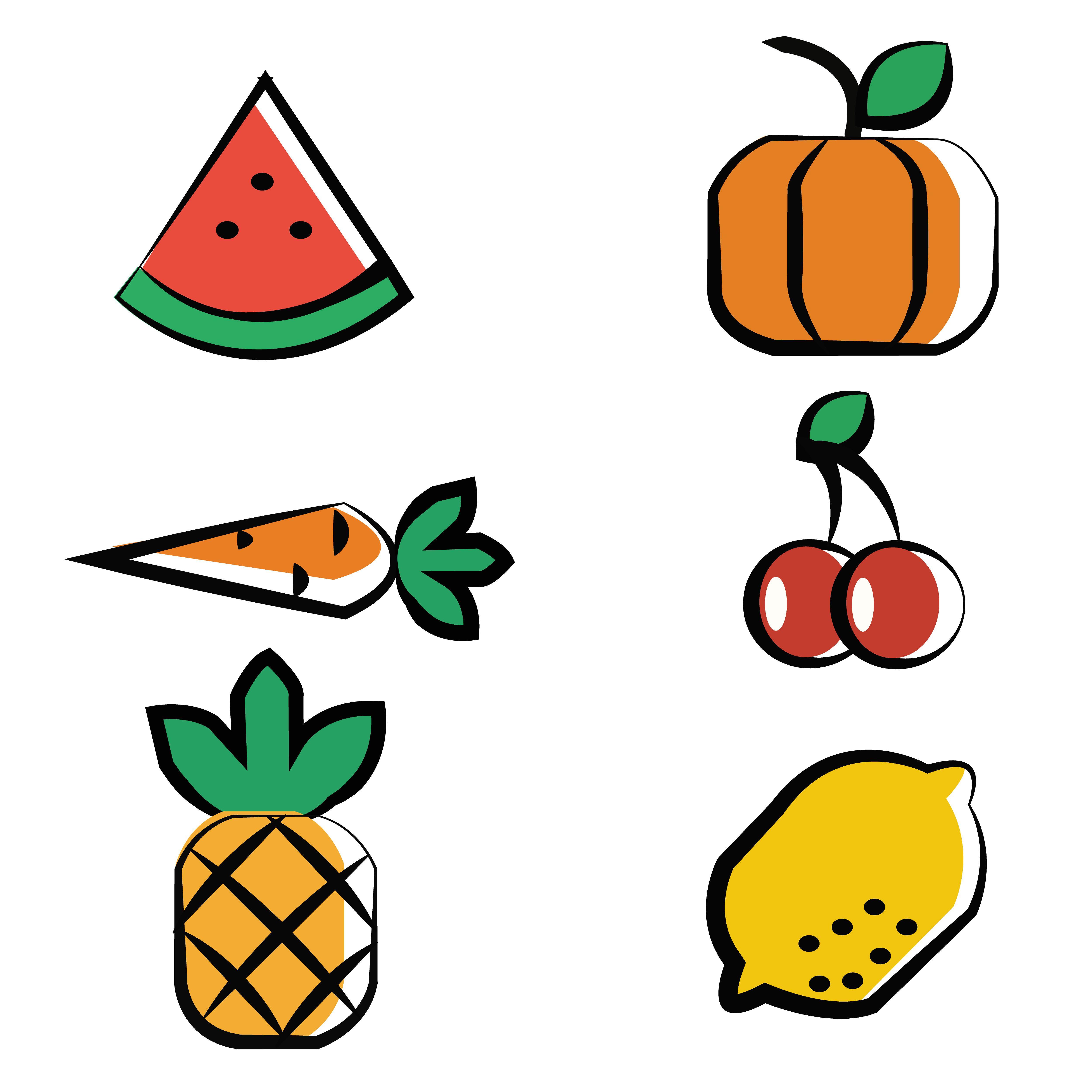 apple; cheery; banana; lemon; orange; strawberry; pear