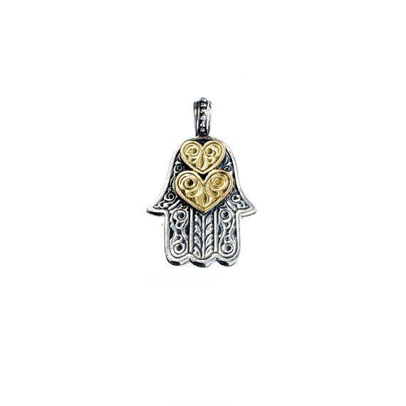 Hamsa hand of fatima pendant in 18k solid by Gerochristojewelry