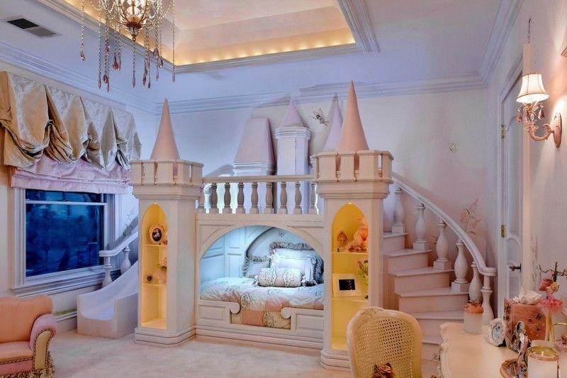 Kinderbett Babyzimmer Beleuchtung Schloss Treppe Rutsche Spielbett