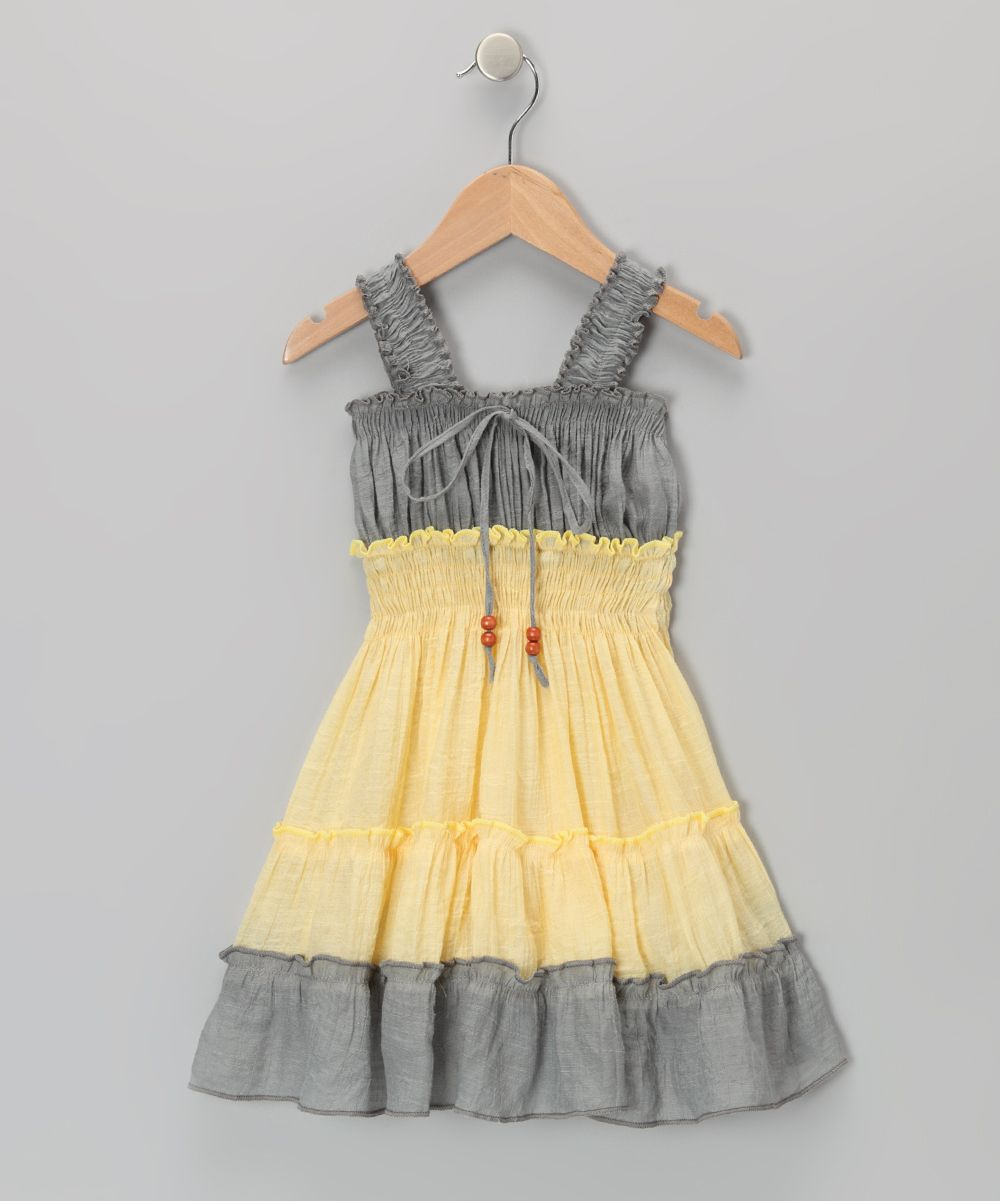 Yellow dress kids  Lele for Kids Gray u Yellow Country Peasant Dress  Toddler u Girls