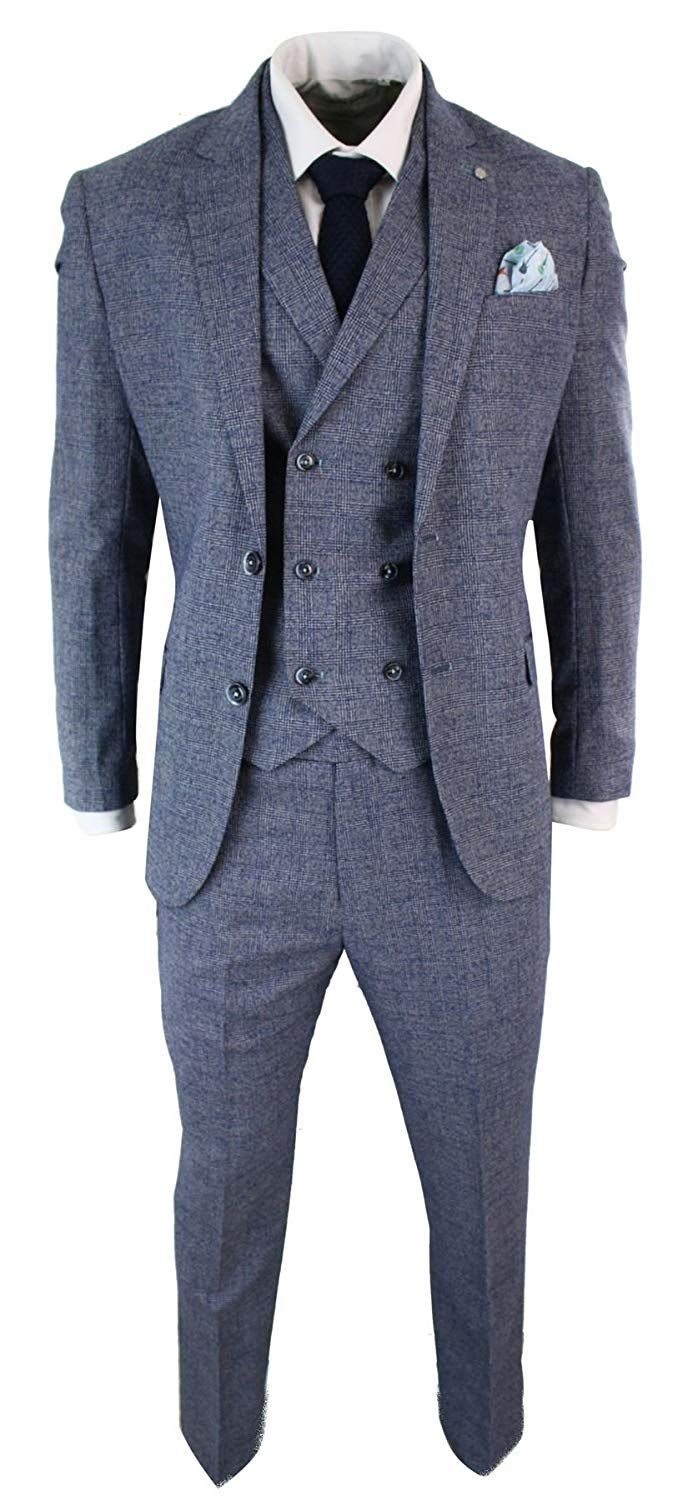 912b2631cb2 Mens 3 Piece Suit Check Double Breasted Waistcoat Vintage Classic Tailored  Fit - Blue-Grey
