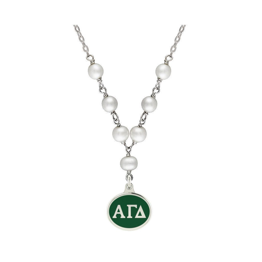 Alpha Gamma Delta Tin Cup Pearl And Silver Necklace Silver